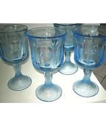 "Fostoria WOODLAND BLUE Set of 4 Water Wine Glass 6 7/8"" Blue Glass Excel... - $24.99"