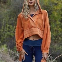 $128 NEW! FREE PEOPLE women half court oversize orange terry sweat hoodi... - $126.72