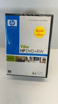 HP Video DVD + RW 5 Pack With Hard Cases New  - $13.81
