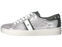 Michael Kors MK Women's Frankie Stripe Leather Sneakers Shoes Silver image 6