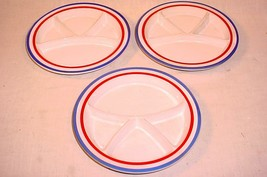 """3 RARE VTG 8 1/2"""" RED WHITE & BLUE HANDCRAFTED STONEWARE CHILD'S DIVIDED... - $24.05"""