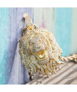 14k Gold Fully Iced Out Diamond Rasta Lion Pendant Necklace - $54.99