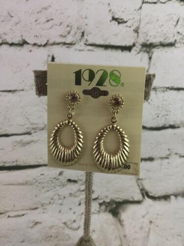 1928 Dangle Earrings Oblong Hoops Gold Toned Surgical Steel Post Fashion NWT - $15.84