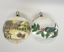 Currier & Ives satin Ball Christmas Ornaments set of 2 American Homestead - $5.00