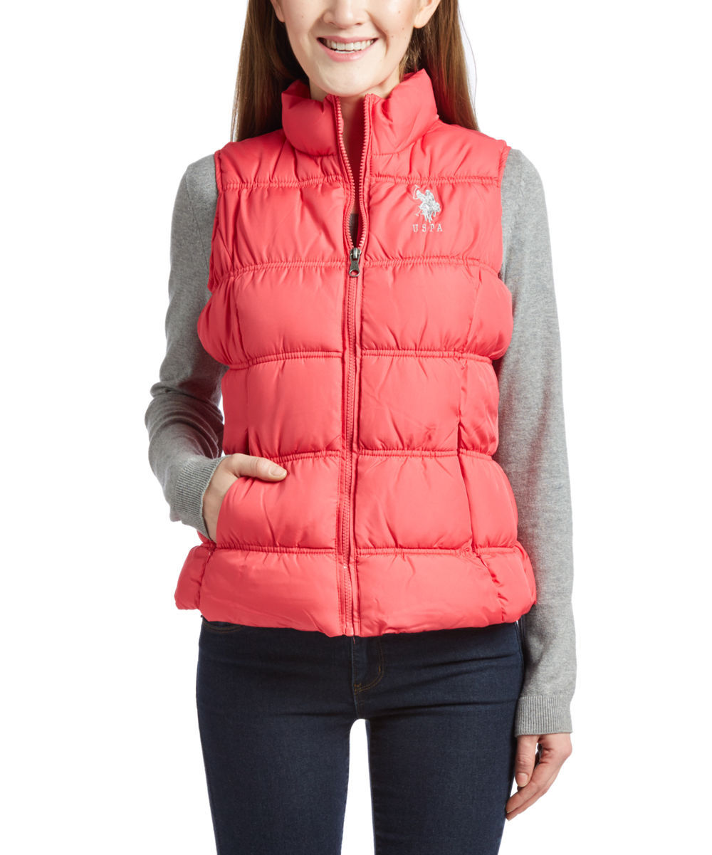 NEW US POLO ASSN WOMEN'S PREMIUM ATHLETIC PLUSH PUFFER ZIP UP VEST AZALEA