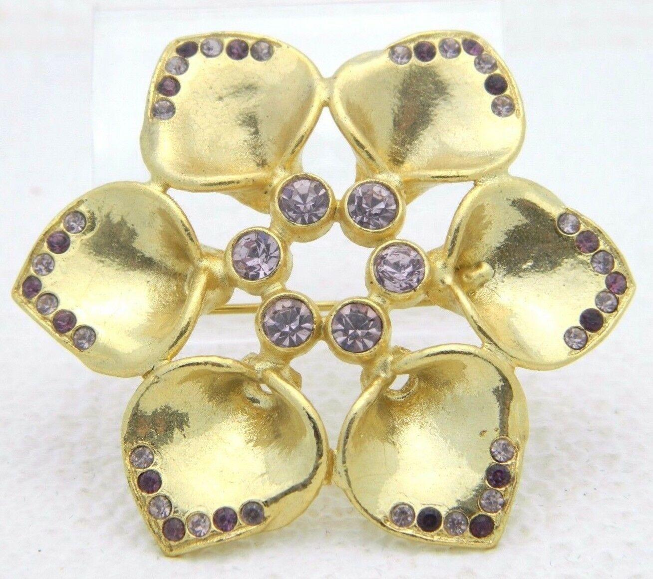 Vintage Gold Tone Purple Rhinestone Flower Pin Brooch