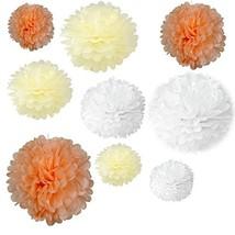 Somnr Set of 18PCS Mixed Sizes White Peach Ivory Tissue Pompoms Paper Fl... - $465,17 MXN