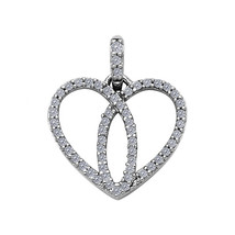 14k White Gold Cubic Zirconia Overlapping Heart Pendant - $90.00