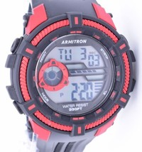 Armitron Digital Sport Watch Water Resist 330ft Black With Red Trim - $19.98