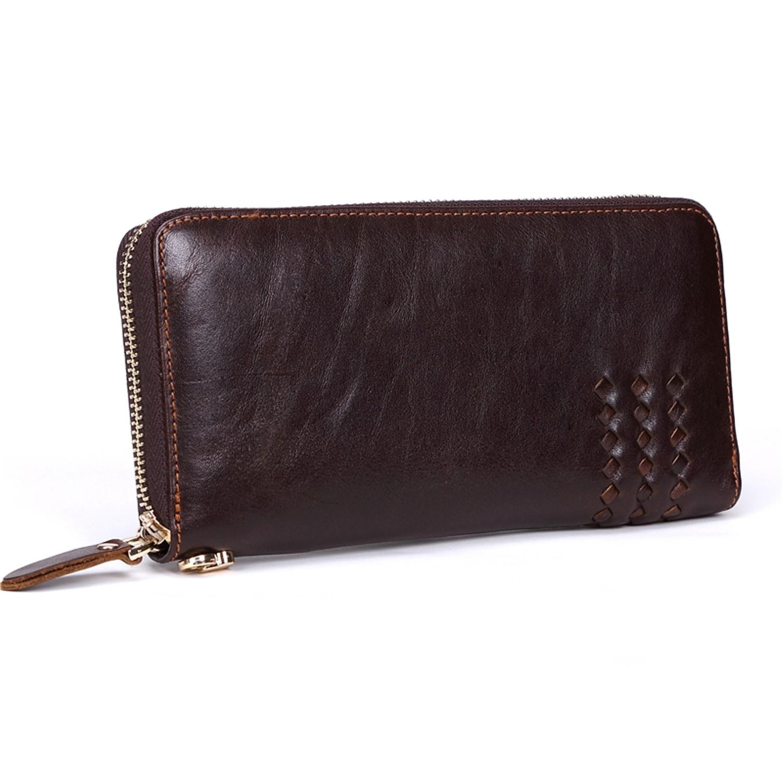 Men Wallets Top Genuine Leather Men Large Capacity Zipper Long Purse Vintage for sale  USA