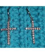 Silver tone earrings cross crystal rhinestone pierced USA Seller - $18.00