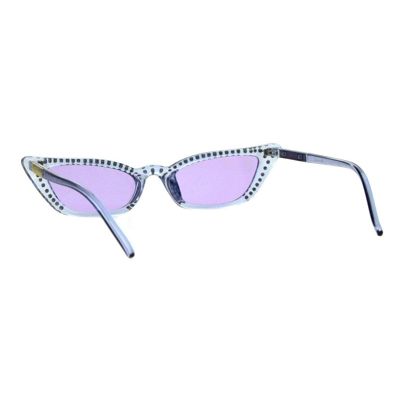 Womens Skinny Sunglasses Rhinestone Rectangular Cateye Frame UV 400