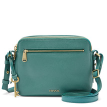Fossil Piper Teal Green Leather/Cotton Interior Zipper Closure Toaster B... - $279.99