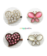 4 Pack Silver Pink White Butterfly Heart Swarovski Element Crystal Bobby... - $22.00