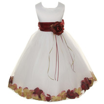 White Satin Bodice Layers Tulle Skirt Burgundy Flower Ribbon Brooch and Petals - $48.00