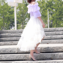 White Hi-lo Tulle Layered Skirt Tulle Outfit Handmade Wedding Bridesmaid Skirt image 3