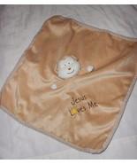 His Gem Jesus Loves Me Monkey Security Blanket Baby Lovey Brown Tan Satin - $13.84