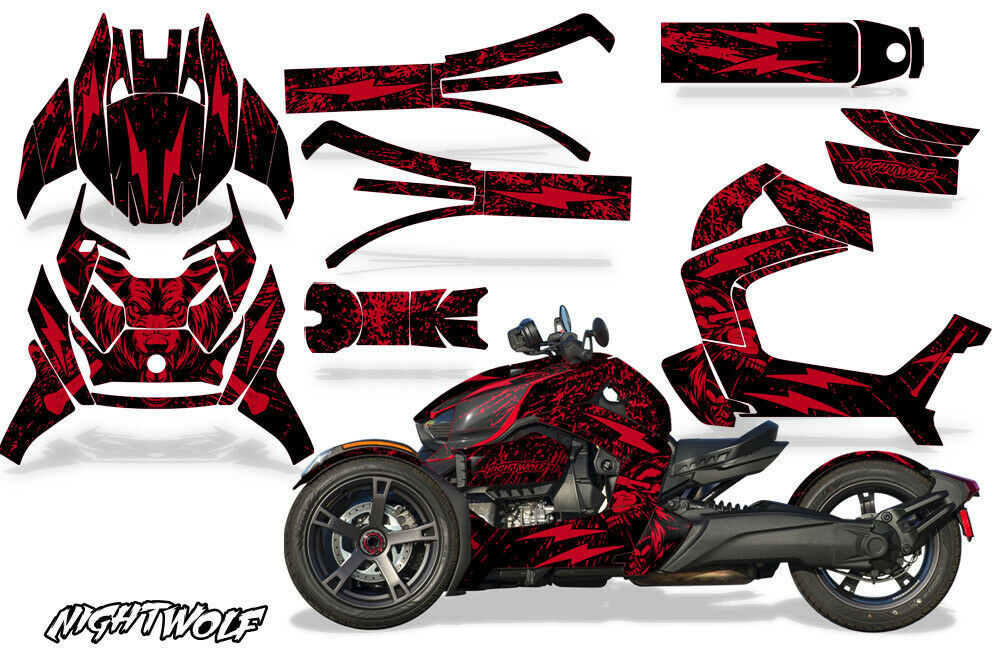 Full Body Wrap Graphic Sticker Decal for Can-Am Ryker 2019 - Nightwolf Red