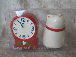2011 Tag Ltd. Mouse and Clock Ceramic Salt & Pepper Shaker Set Collectible - $12.99