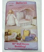 "Butterick Pattern 5730 Sew 18"" Doll Bedding Spreads Ruffles Canopy Pillo... - $10.54"
