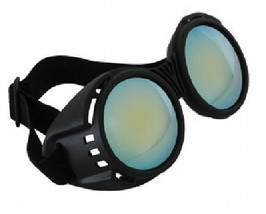 SteamPunk Cosplay Goth Industrial Black and Blue Goggles, NEW UNUSED - $12.59