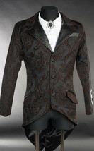 Men's Black Brown Brocade Steampunk Tailcoat Victorian Vampire Goth Jacket - $88.09