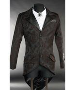 Men's Black Brown Brocade Steampunk Tailcoat Victorian Vampire Goth Jacket - $92.33