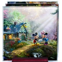Thomas Kinkade Mickey & Minnie Sweethearts Prints 4 Pc Fused Glass Coaster Set image 3