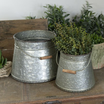 Set of 2 Metal Buckets Assorted Sized Rustic Decorative Bucket Set with ... - $89.95