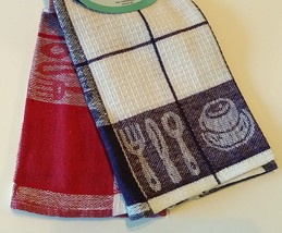 TEA TOWELS Set of 2 Red Purple Check Coffee Cup Utensils Cotton Kitchen NEW image 5