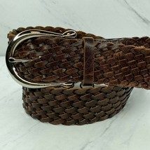 Michael Kors Braided Leather Brown Wide Belt Size Large Womens - $22.47