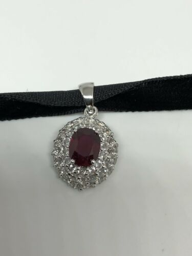 Vintage Genuine 925 Sterling Silver Garnet White Sapphire Choker Necklace