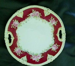 "PT GERMANY Plate with handles 9.5"" China red Collectible Dish pink roses... - $14.85"
