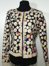 Round Neck Flower Pattern Beige Leather Leaf Jacket Womens All Sizes Short D7 - $150.00
