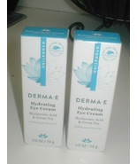 lot of 2 - Derma E Hydrating Eye Cream Hyaluronic Acid & Green Tea 1/2 oz  - $27.67
