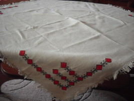 Vintage linen hand embroidered tablecloth 65 x 71 cm, cream, red, black - $10.76