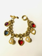 VTG Baroque Heart & Pearl Charm Bracelet In Gold tone Double Link W Togg... - $272.25