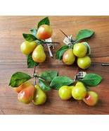 Vintage Set of 4 Marco YDC Plastic Fruit Pears w/Greenery Artificial Decor (NEW) - $19.75