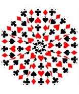 Folding Umbrella playing cards magician poker gambler hearts spades pike... - $45.00