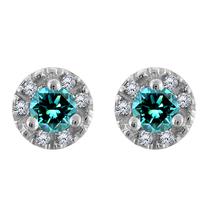 0.85 Ct Round Topaz & Diamond 18k White Gold Over 925 Silver Stud Earrings  - $57.75