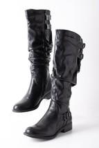 White Mountain Womens Knee High Slouch Wide Calf Boots Sz 8 Black 01-W14... - £37.93 GBP