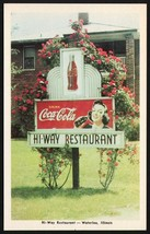 Vintage postcard HI WAY RESTAURANT Waterloo Illinois nice Coca Cola sign... - $8.99