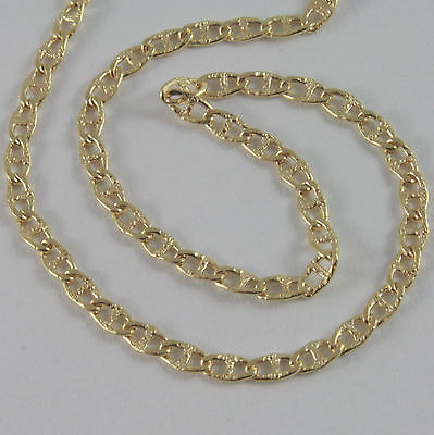 18K YELLOW GOLD CHAIN SAILORS NAVY LITTLE MARINE HAMMERED NECKLACE MADE IN ITALY