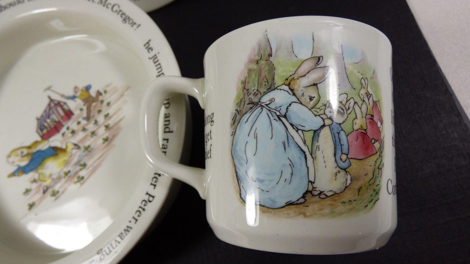 Wedgwood England Peter Rabbit Children 3 Piece Nursery story Set bowl plate cup image 6