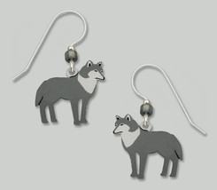 Sienna Sky Hand-Painted Wolf Earrings Made in the USA Sterling Hooks Sale - $10.94