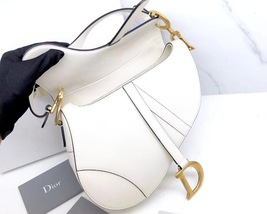 BRAND NEW Authentic Christian Dior White Saddle Trotter Leather Shoulder Bag  image 6