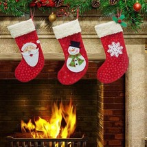 3 Pieces/Set Mini Christmas Stockings Socks Santa Claus Candy Gift Bag C... - $20.00