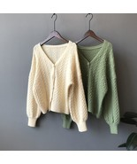 Mooirue Winter 2019 Femme Harajuku Knitted Cardigan Lantern Flowers Knit... - $30.70