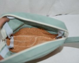 TPO Brand MP0005MT Hope Tan Cork Seafoam Green Canvas Zipper Travel Makeup Pouch image 3