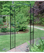 Garden Arbor Metal Arch Black Steel Frame Weather Resistant 8 Feet Tall ... - $128.69